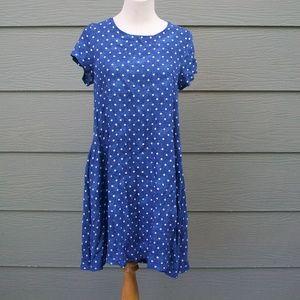 Nina Leonard Dress Sz S Blue White Polka Dot Aline